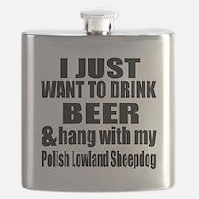 Hang With My Polish Lowland Sheepdog Flask