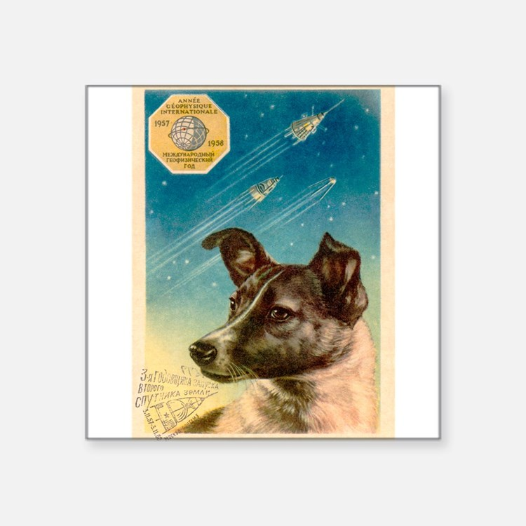 Laika the space dog postcard Sticker