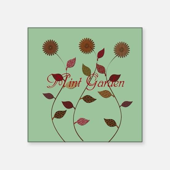 Orange Daisies Mint Garden Sticker