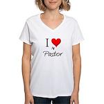 I Love My Pastor Women's V-Neck T-Shirt