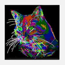 Pop Art Abstract Cat Tile Coaster