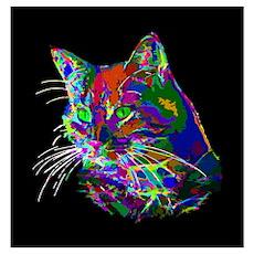 Pop Art Abstract Cat Wall Art Poster