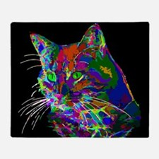 Pop Art Abstract Cat Throw Blanket