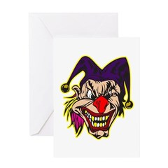 Evil Jester Clown with Pink Hair Greeting Card