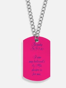 B710 Gold Script1 Bright Pink! Dog Tags