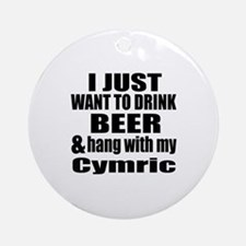 Hang With My Cymric Round Ornament
