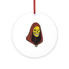Evil Hooded Grim Reaper Skull Ornament (Round)