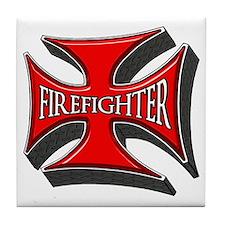 FIREFIGHTER Maltese Cross Tile Coaster
