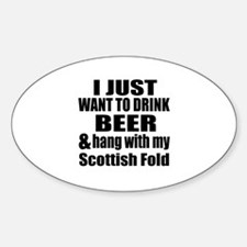 Hang With My Scottish Fold Sticker (Oval)