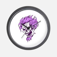 Crazy Purple Hair Punk Skull Wall Clock