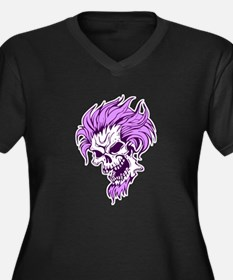 Crazy Purple Hair Punk Skull Women's Plus Size V-N