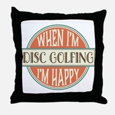 happy disc golfer Throw Pillow