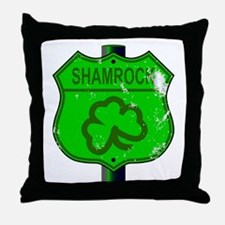 Spoof Shamrock Route 66 Sign Throw Pillow
