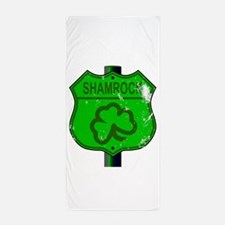 Spoof Shamrock Route 66 Sign Beach Towel