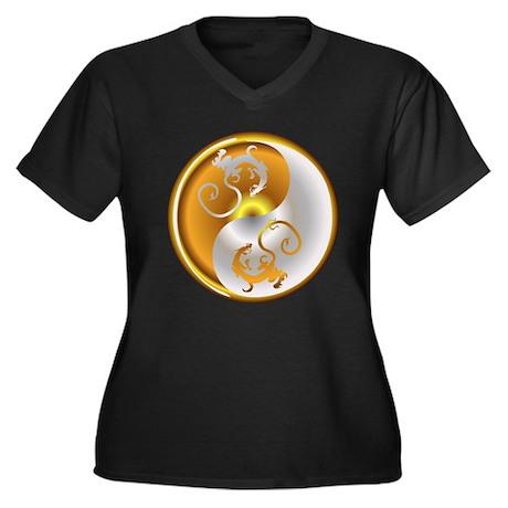 Zen Dragons Women's Plus Size V-Neck Dark T-Shirt