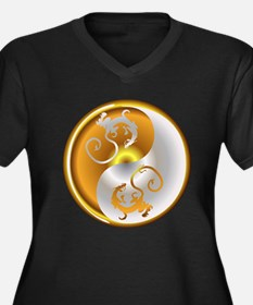 Zen Dragons Women's Plus Size V-Neck Dark T-Shirt