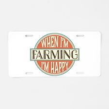 happy farmer Aluminum License Plate