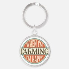 happy farmer Round Keychain