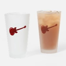 Red Wooden Guitar SIlhouette Drinking Glass