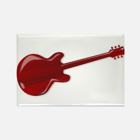 Red Wooden Guitar SIlhouette Magnets