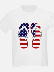 American Flag flip flops T-Shirt