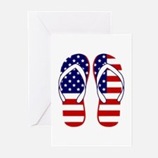 American Flag flip flops Greeting Cards