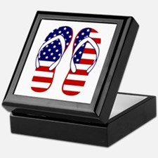 American Flag flip flops Keepsake Box