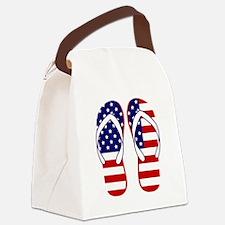 American Flag flip flops Canvas Lunch Bag