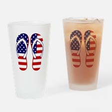 American Flag flip flops Drinking Glass