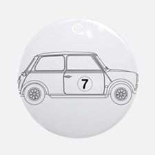 Compact Saloon Outline Drawing Round Ornament