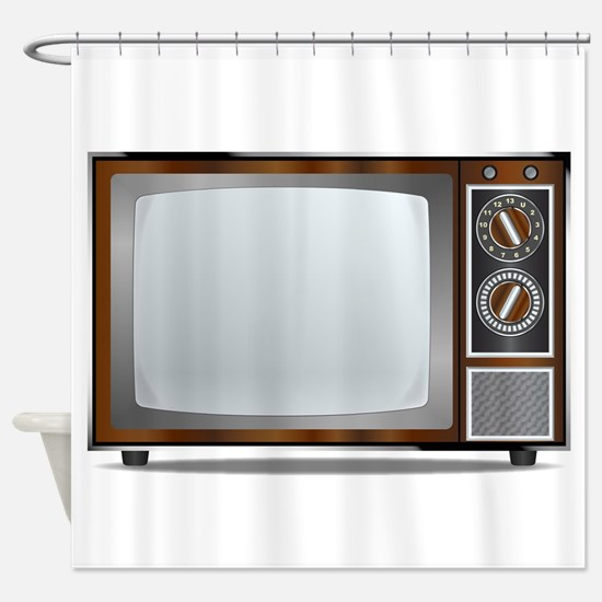 Old Television Set Shower Curtain