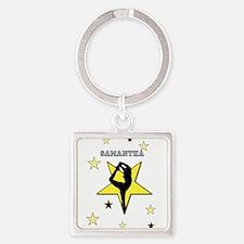 Yellow cheerleader personalized Keychains