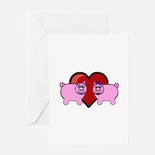 Piggy Love Greeting Cards