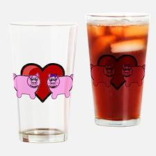 Piggy Love Drinking Glass