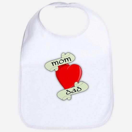 Mom and Dad Heart Bib
