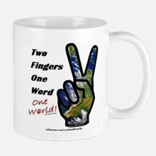 world peace sign Mugs