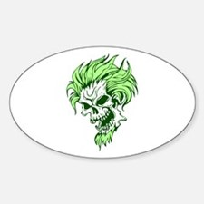 Crazy Hair Green Punk Skull Oval Decal