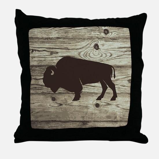 Buffalo Western Wood Plank Throw Pillow