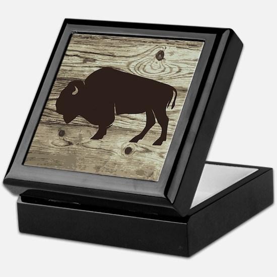 Buffalo Western Wood Plank Keepsake Box