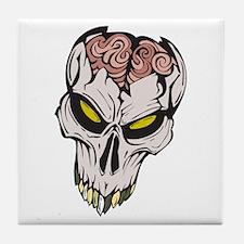 Cracked Skull Brain Exposed Tile Coaster