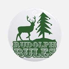 Rudolph Rules Ornament (Round)