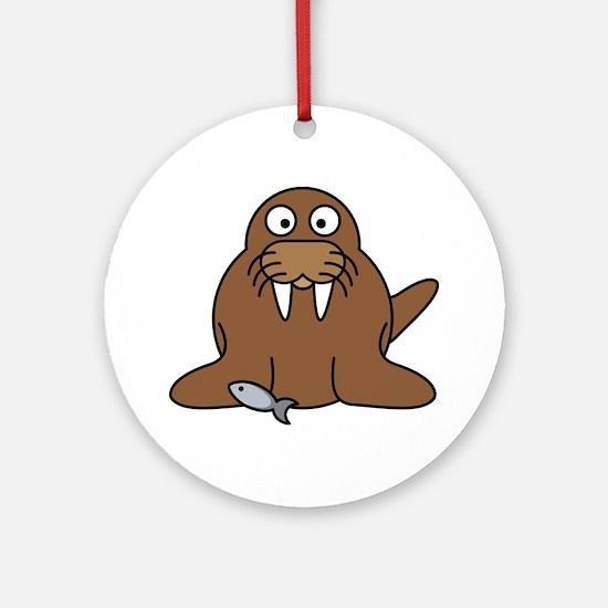 Funny Walrus Round Ornament