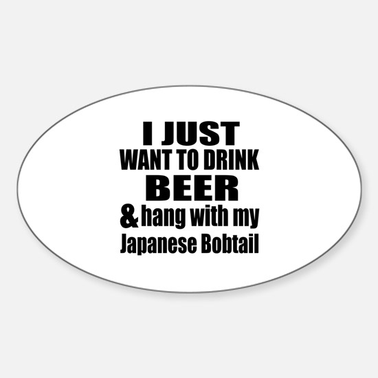 Hang With My Japanese Bobtail Sticker (Oval)