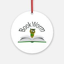 Book Worm Round Ornament