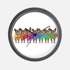 Chihuahua Rainbow Wall Clock
