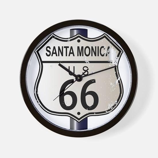 Santa Monica Route 66 Sign Wall Clock