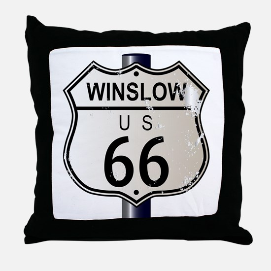 Winslow Route 66 Sign Throw Pillow