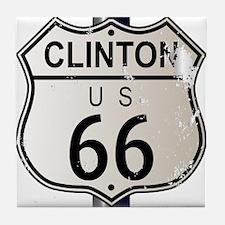 Clinton Route 66 Sign Tile Coaster