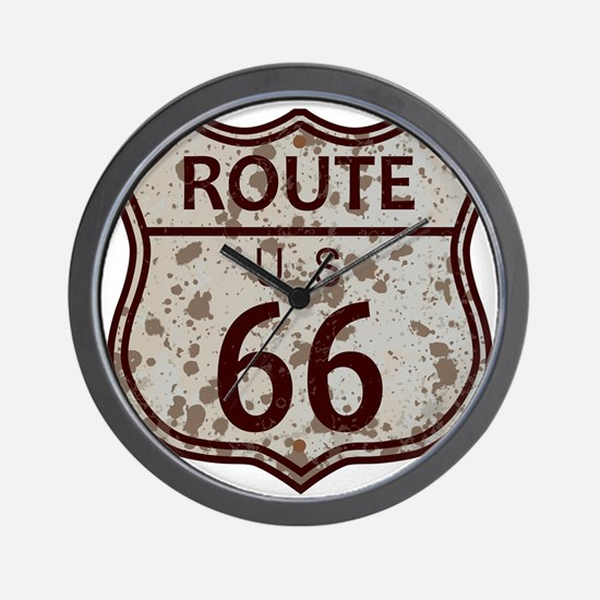 Weathered Route 66 Sign Wall Clock