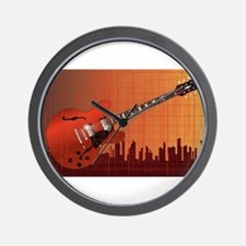 Grunge City Guitar Wall Clock